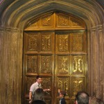 The tour guide opens the door to the Great Hall...
