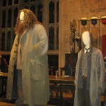 As you would expect, the costume for Hagrid towers over the costume for Filch.