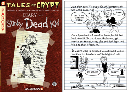 Cover and interior page from &quot;Diary of a Stinky Dead Kid,&quot; as reported by Publisher's Weekly